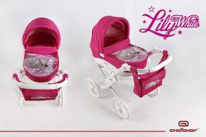 Adbor Kočárek pro panenky Lily White pejsek