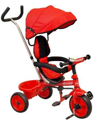 Baby Mix Tříkolka s vodící tyčí EcoTrike červená