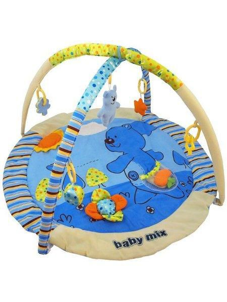 BABY MIX Hrací deka MEDVÍDEK modrá